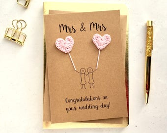 Mrs & Mrs card - Bride and Bride card - Gay wedding card - Lesbian wedding card - Brown card