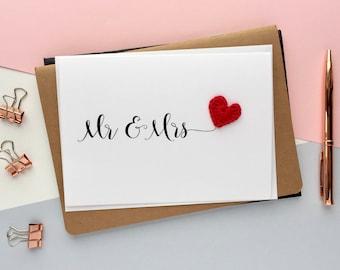 Mr & Mrs card -Bride and Groom card - Wedding congratulations card - Wedding card - simple wedding card