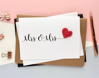 Mrs & Mrs card - Lesbian wedding card - LGBT wedding - Bride and Bride card - Gay wedding card - Wedding card - simple wedding card