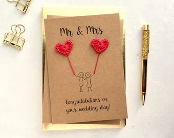 Mr & Mrs card - Wedding card - Bride and Groom card - crochet hearts -  Handmade wedding card - Brown card