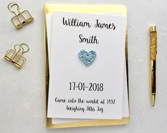 New baby boy card - Personalised new baby card - Newborn keepsake card - White card