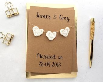 Wedding card - Personalised wedding card - Crochet hearts - Wedding keepsake card - Brown card