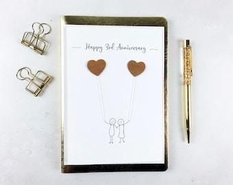 3rd Anniversary card - Leather wedding anniversary