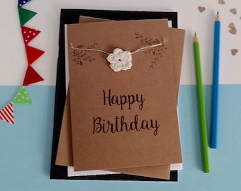 Happy Birthday card - Rustic birthday card- Floral Birthday card - Brown card