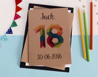 18th birthday card - Any age - 16th, 18th, 20th, 21st, 30th, 40th, 50th, 60th - 70th - 80th - 90th - Rustic birthday - geometric number card