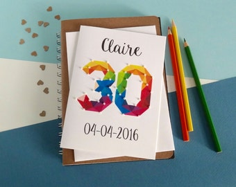 30th birthday card - Any age - Any name. 16th card. 18th card. 20th, 21st, 40th, 50th, 60th, 70th, 80th - (Beaded card) White card