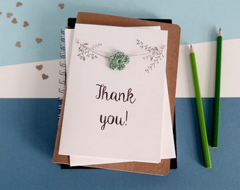 Thank you card - Thanks card - Crochet flowers card - White card