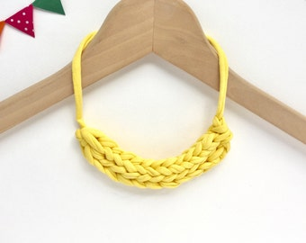 Fabric necklace - Yellow T-shirt yarn necklace - stocking filler - Gift for her - Bright yellow knitted necklace - Yellow jewellery