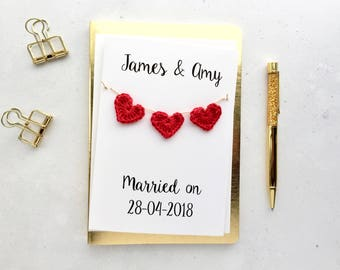 Wedding card - Personalised wedding card - Handmade custom wedding card - Keepsake card - White card