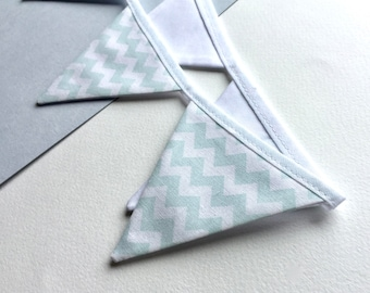 Pale sea green chevron bunting - Mini bunting - 100% cotton bunting -pale blue chevron pennant banner