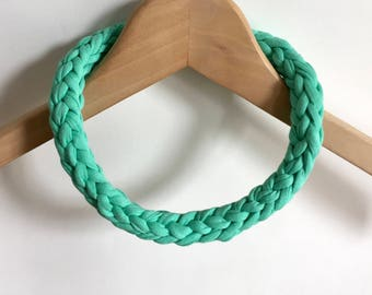 Aqua Green T-shirt yarn necklace - Green jewellery - Lightweight necklace - Gift for her - Green necklace  - Green jewelry