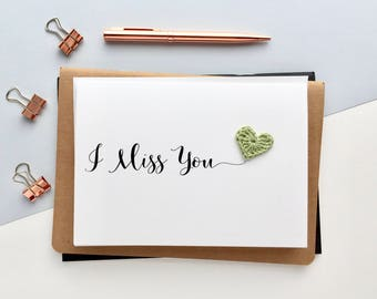 I Miss You card  - Simple Miss You card - Monochrome Miss You card - Just Because Card - Thinking of you card - Friendship card
