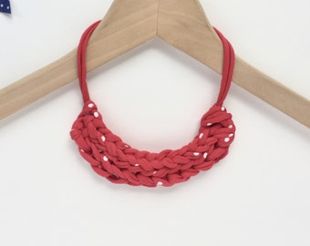 Red spot necklace - Knit necklace - T-shirt yarn necklace - Gift for her - Stocking filler necklace - Red knitted necklace - Red jewellery