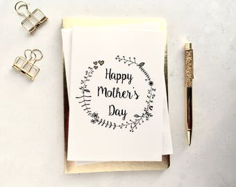 Mother's day card - card for mum - card for mom -  Floral Mother's day card - Floral wreath card - White card