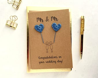 Mr & Mr card - Groom and Groom card - Gay wedding card - Brown card