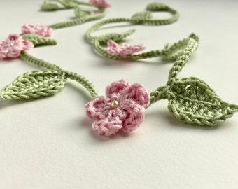 Flower girl crown - crochet vine - flower girl headband - flower girl hair accessory - bridesmaid hair vine - boho wedding accessory