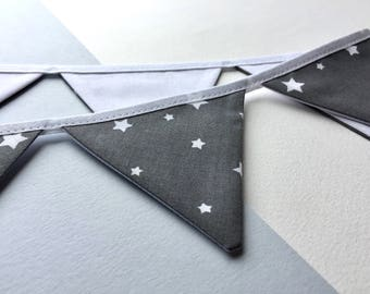 Mini bunting - Grey star bunting - 100% cotton bunting - Star Bunting - Star pennant banner - Grey home decor