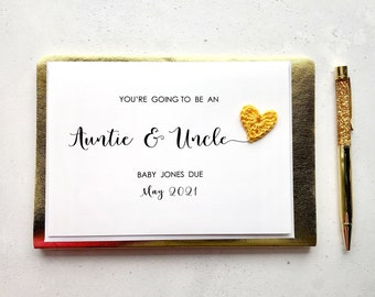 You're going to be an Auntie & Uncle card - Pregnancy announcement card