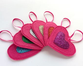 Pink Christmas decorations - Set of 6 felt Christmas decorations - Rainbow Christmas decorations - Felt glitter Christmas decorations