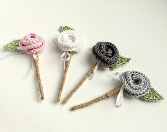 Crochet buttonholes - wedding buttonhole - grooms buttonhole - alternative buttonhole - crochet boutonniere - mens boutonniere