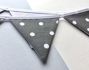 Grey mini bunting - Grey spot bunting - grey banner - Gray banner -  Pennant banner - mini pennant banner