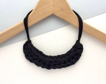 Black necklace - Chunky Black necklace - T-shirt yarn necklace - Gift for her - Stocking filler necklace - Black jewellery
