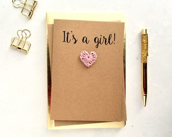 It's a girl card - Baby girl card - New baby girl card - Brown card