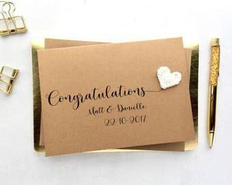 Personalised wedding card - Congratulations wedding card - Crochet hearts - Wedding keepsake card - Brown card