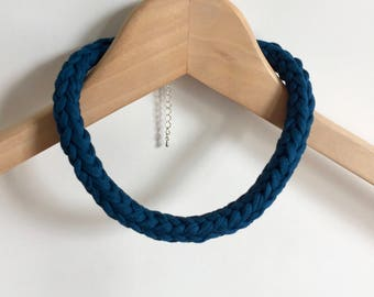 Petrol blue crochet necklace - Gift for her - Blue T-shirt yarn necklace - Blue necklace  -Blue jewellery - Blue jewelry