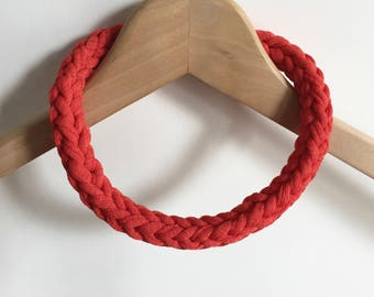 Orange T-shirt yarn necklace - Orange choker - Orange crochet necklace - festival jewellery - Gift for her - Orange accessories