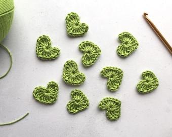 Lime green Crochet hearts - Crochet flowers - Crochet applique hearts - Crochet appliqué flowers