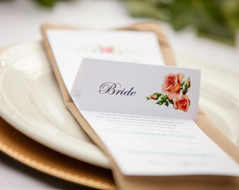 Printable Floral Wedding Place Cards, DIY Rose Wedding Name Card, Vintage Garden Wedding Escort Card