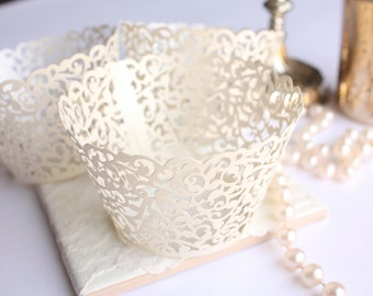 Ivory Lace Filigree Cupcake Wrappers for MINI or Standard Cupcakes, Shimmer Ivory/Off White Laser Cut Lace Cupcake Liners - Set of 12