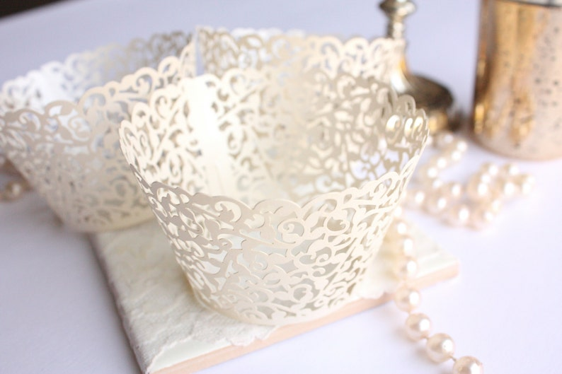 Ivory Lace Filigree Cupcake Wrappers for MINI or Standard image 0
