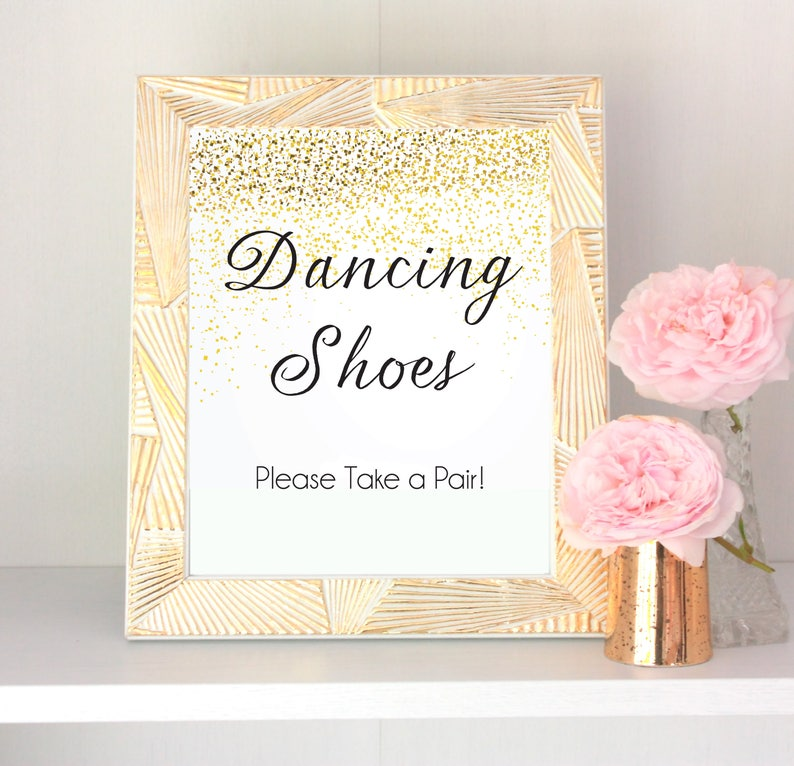 dacb1e741790 Dancing Shoes Wedding Sign Gold Glitter Printable Wedding