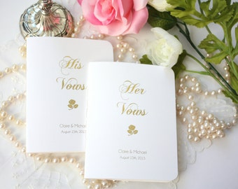 Vow Books, Custom His and Hers Wedding Vows Books with Gold Foil  - Set of 2