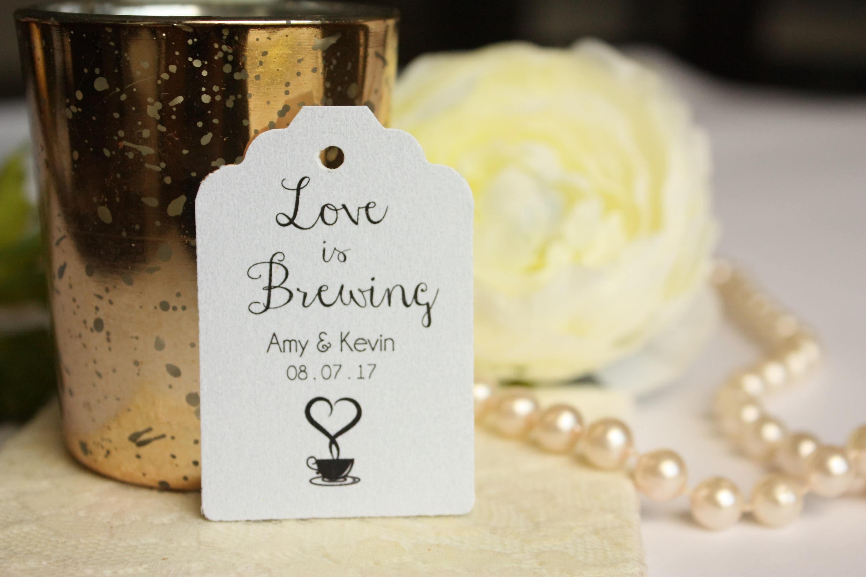 Love is Brewing Tag Custom Coffee Wedding Favor Tags