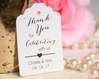 Thank You for Celebrating with Us Wedding Favor Tag, Custom Thank You Wedding Favor Tags, Engagement Party Tags - Set of 20