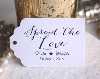 Spread The Love Favor Tags, Personalized Jam Wedding Favor Tags, Thank You Tags, Bridal Shower Gift Tags for Jam Favors - Set of 20