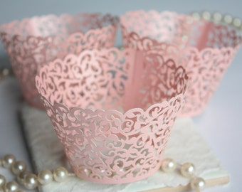 Pink Cupcake Wrappers for MINI or Standard Cupcakes, Shimmer Blush Pink Lace Filigree Cupcake Liners, Laser Cut Wrapper/Liner - Set of 12