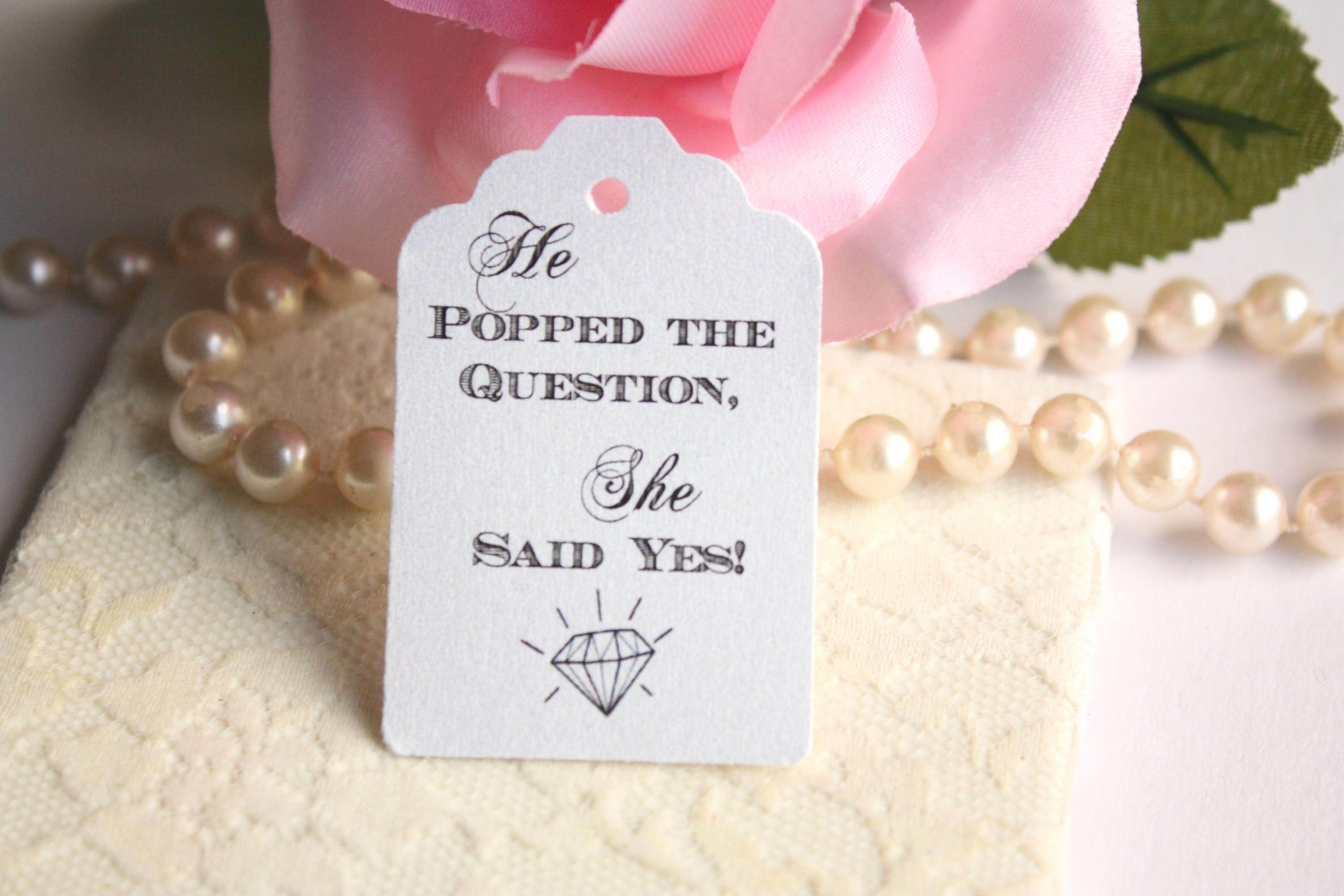 He Popped the Question Popcorn Wedding Favor Tags DIY