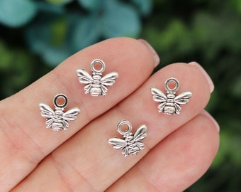 20 Tiny Bee Charms, Double Sided, Antique Silver Tone Charms (B-157)