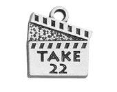 2 Movie Clapper, Take 22, Charms, Antique Silver Tone (1K-138)