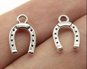 US Seller AS293 4 20 or 50 BULK pcs Silver Lucky Horseshoe Charms