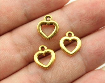 20 Open Heart Charms, Antique Gold Tone Charms (1C-80)