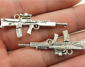 5 Ak 47 Rifle Charms, Antique Silver Tone (1E-108)