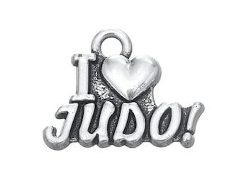 4 I Love Judo Charms, Antique Silver Tone (1K-112)