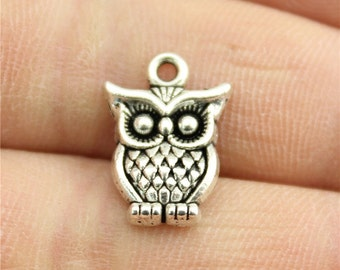 5 Owl Bird Charms, Antique Silver Tone Charms (1B-91)