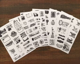 6 sheets Retro Travel Stamp Sticker Set, (5C-2)