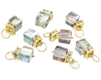 2 AB Color Glass Charms with Rhinestones, Gold Plated Glass Charms (1M-32)